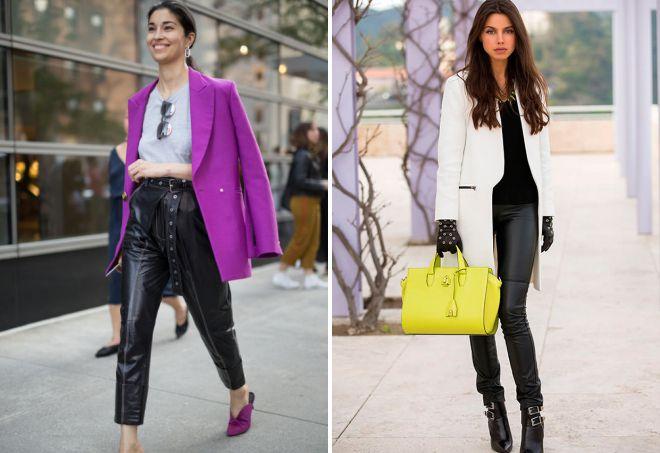 женские натуральные кожаные брюки