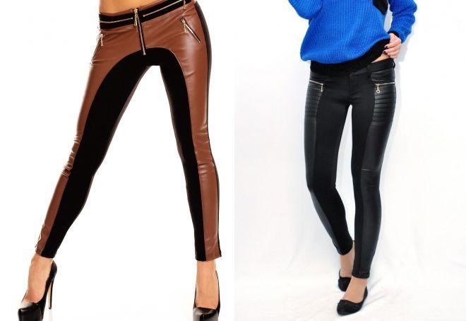 брюки с кожаными вставками