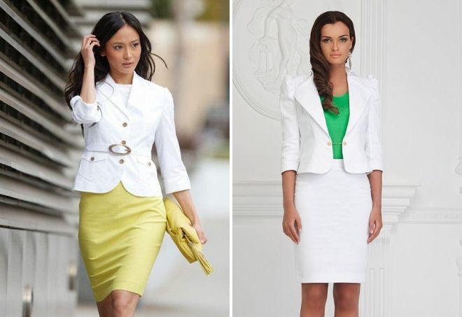 костюм юбка и короткий пиджак
