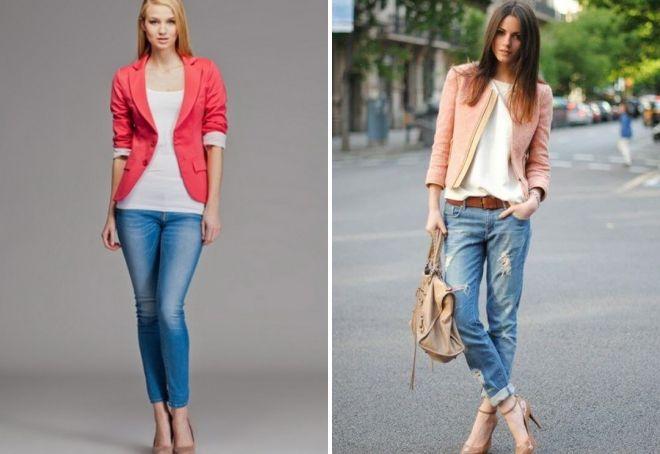 короткий пиджак под джинсы