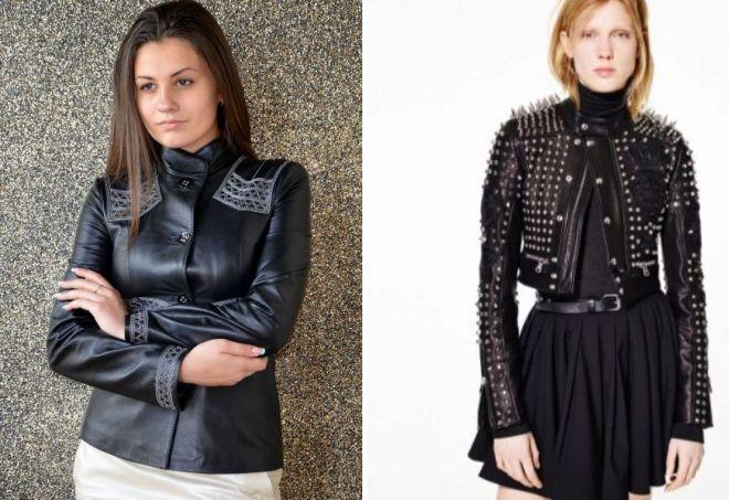женский короткий кожаный пиджак
