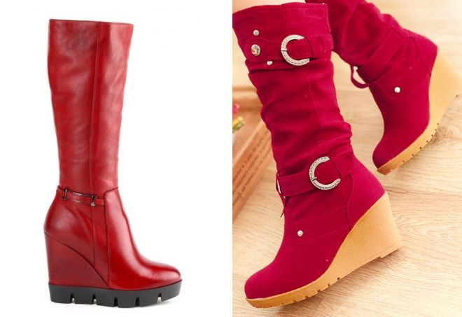 стильные красные сапоги
