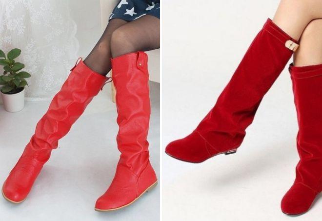 красные женские сапоги