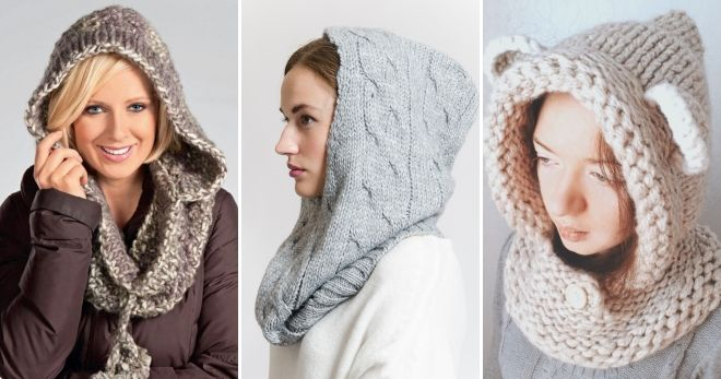 Объемный вязаный шарф