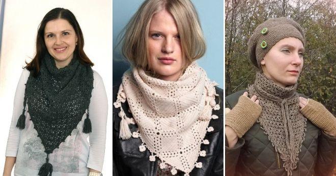Вязаный шарф-косынка