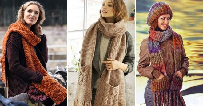 Вязаный шарф с карманами