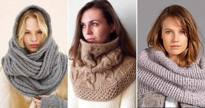 Вязаные шарфы-снуды