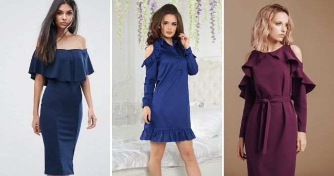 Платье с открытыми плечами с рюшами