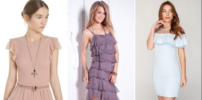 С чем носить платье с рюшами
