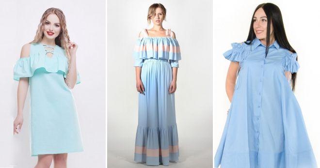 Платье с рюшами на плечах
