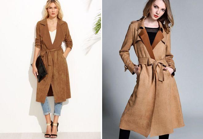 замшевое пальто на запах