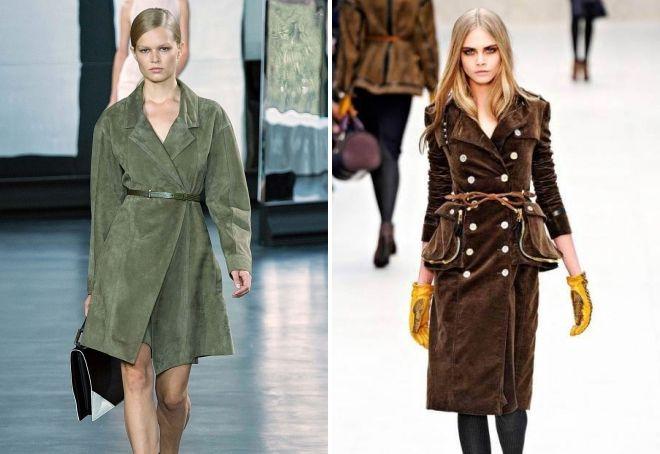 модные замшевые пальто