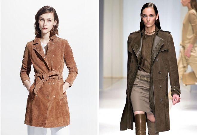классическое замшевое пальто