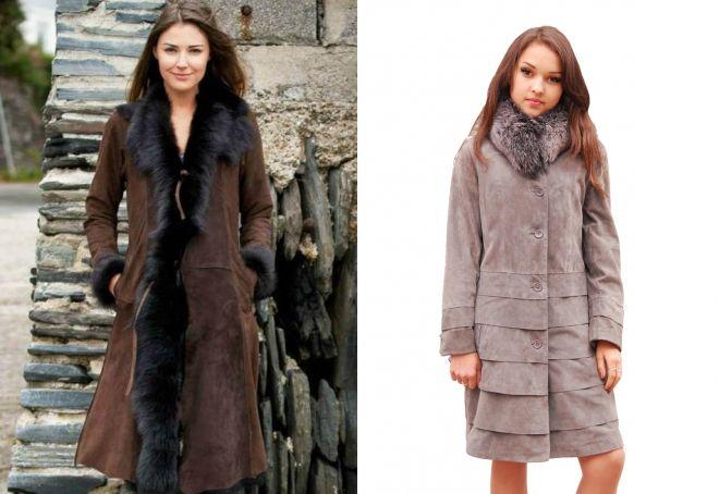 зимнее замшевые пальто