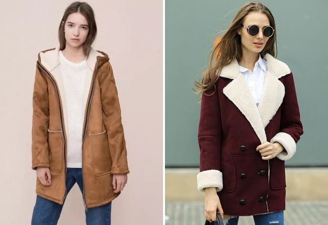 замшевое пальто из овчины