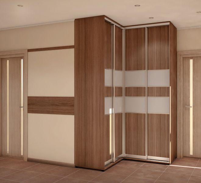 угловой шкаф в прихожую с зеркалом в классическом интерьере