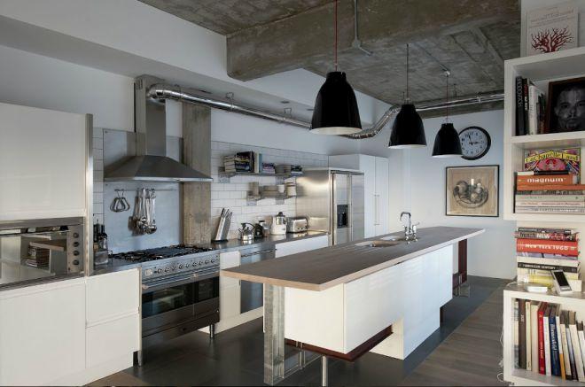 Кухонное помещение в стиле лофт