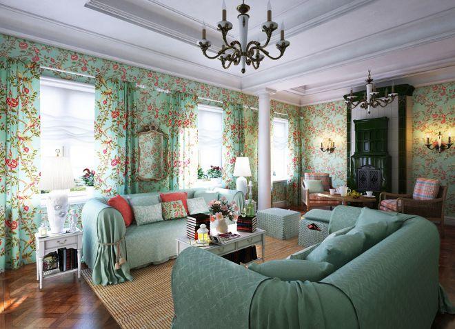 Дизайн гостиной в доме - оформление кухни-гостиной с камином, отделка