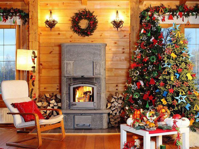 Украшение деревянного дома к Новому году