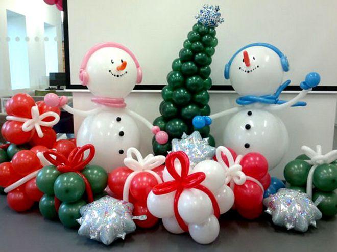 Украшение дома шарами на Новый год