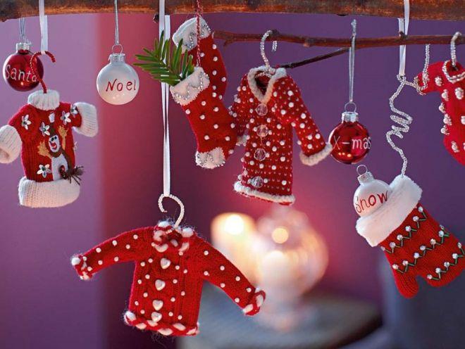 Вязаные новогодние украшения для дома