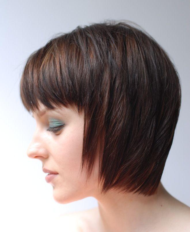 стрижка гарсон на длинные волосы брюнет
