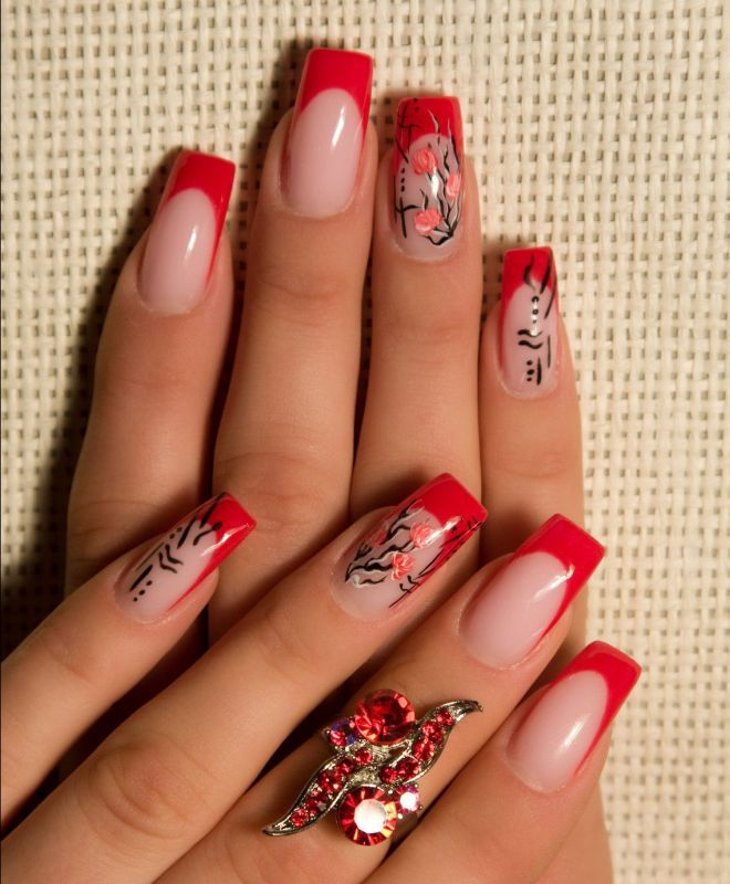 design French nail design with four