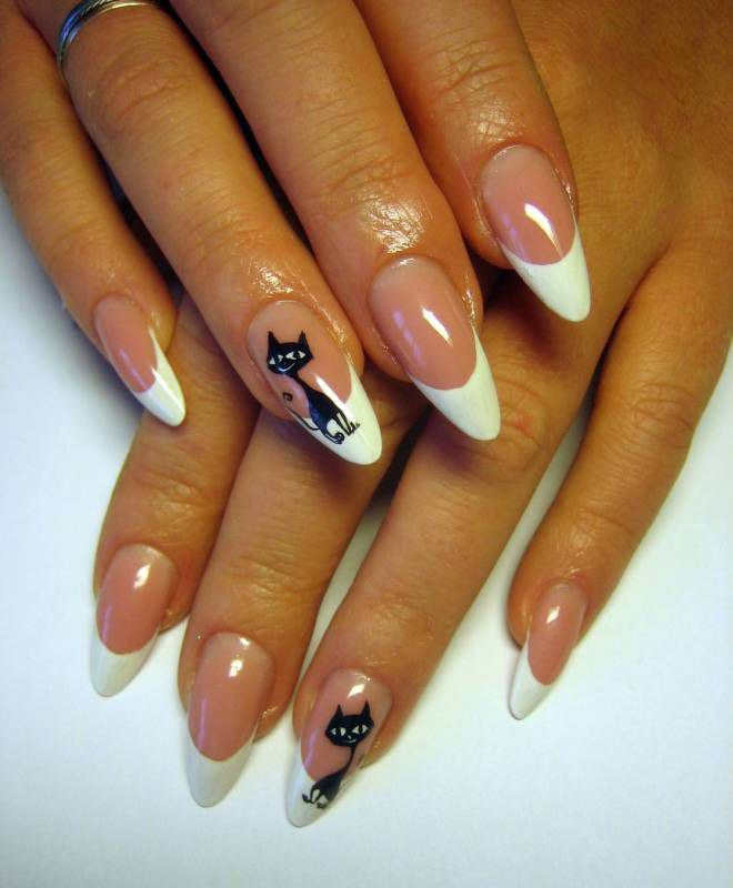 design French nail design with a five