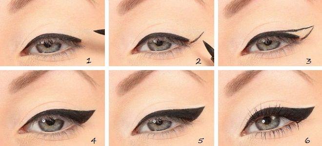 Eyeliner flèches pas à pas options rétro