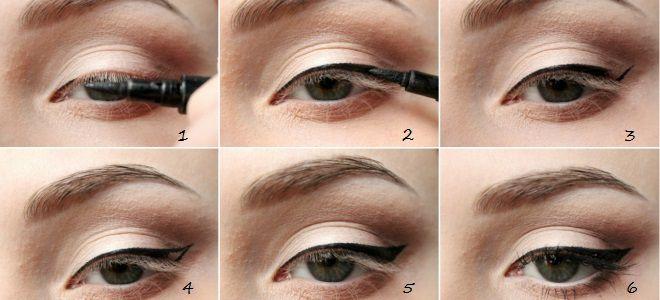 Eye-liner flèches, étape par étape, options tous les jours