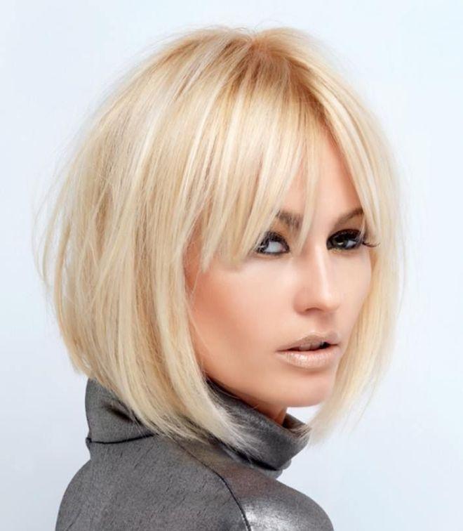 короткое каре на удлинение с челкой блондинка