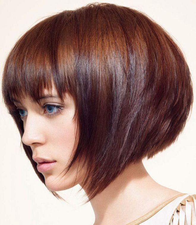 боб каре на короткие волосы с челкой брюнетка