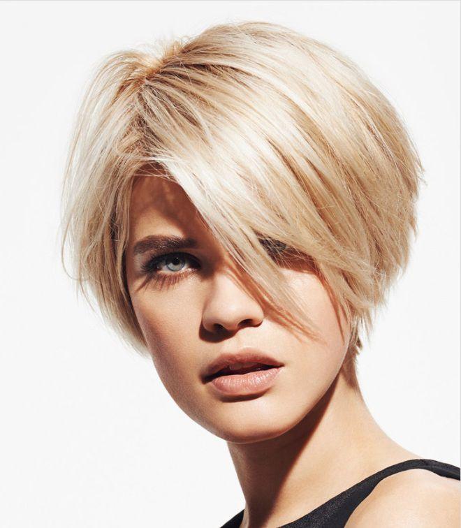боб каре на короткие волосы с челкой блондинка