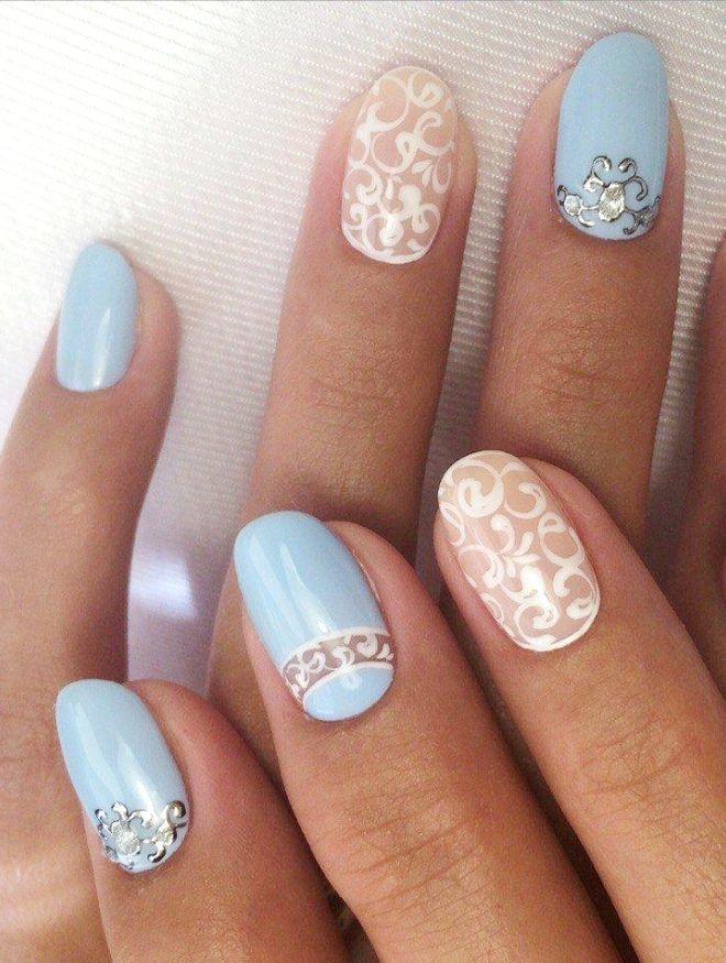 patrones de manicura azul suave