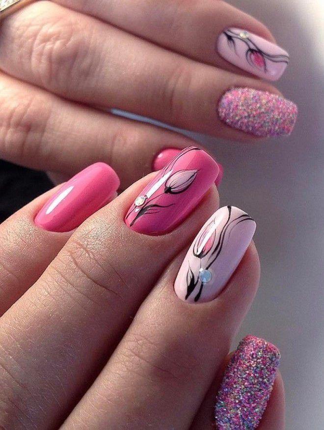 brotes de manicura rosa suave