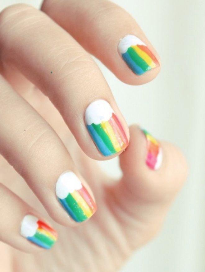 manicura multicolor suave arco iris