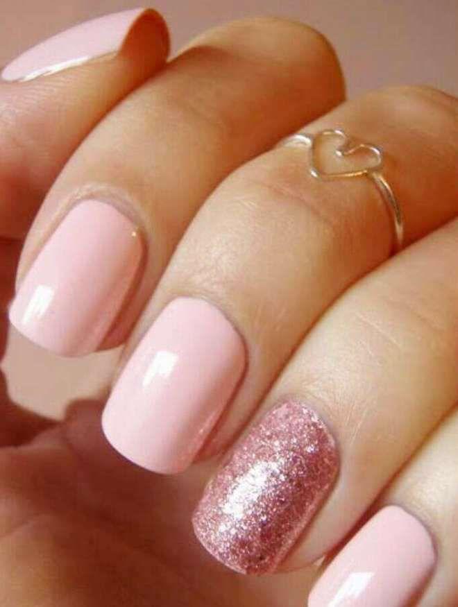 lentejuelas de manicura rosa suave
