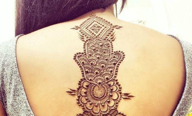 временные татуировки хной на спине
