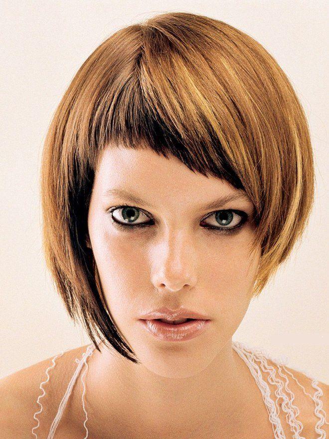 виды женских челок косая классика