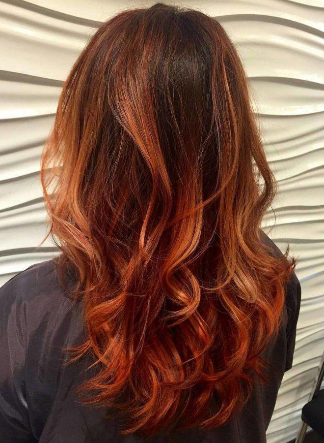 Омбре для рыжих волос два