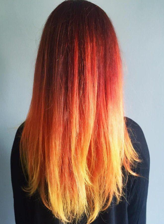 Омбре для рыжих волос четыре