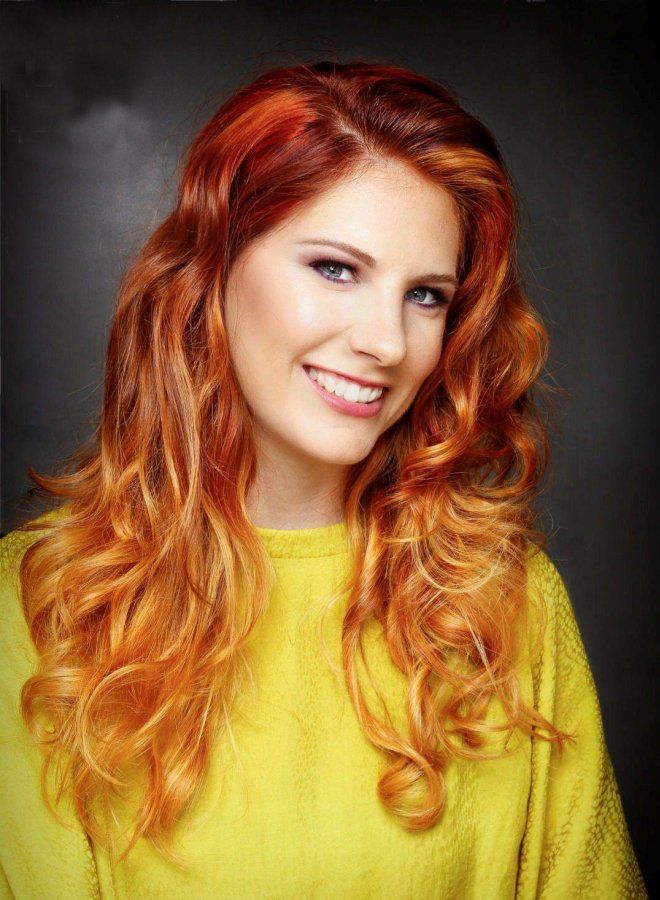 Омбре для рыжих волос пять