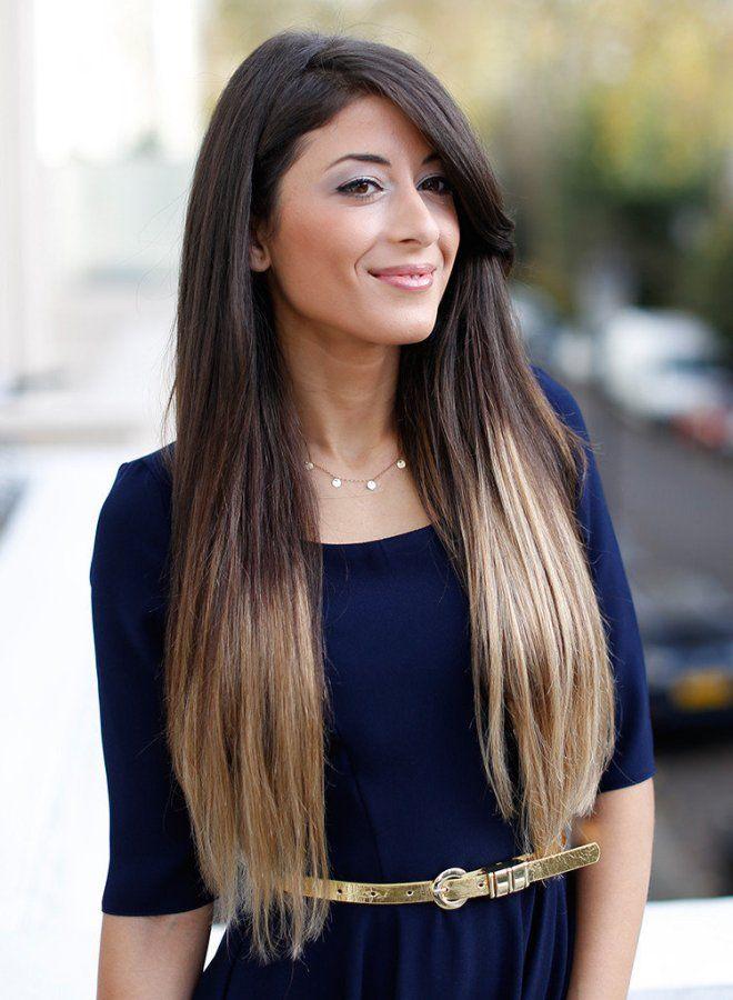 Омбре на длинные волосы раз