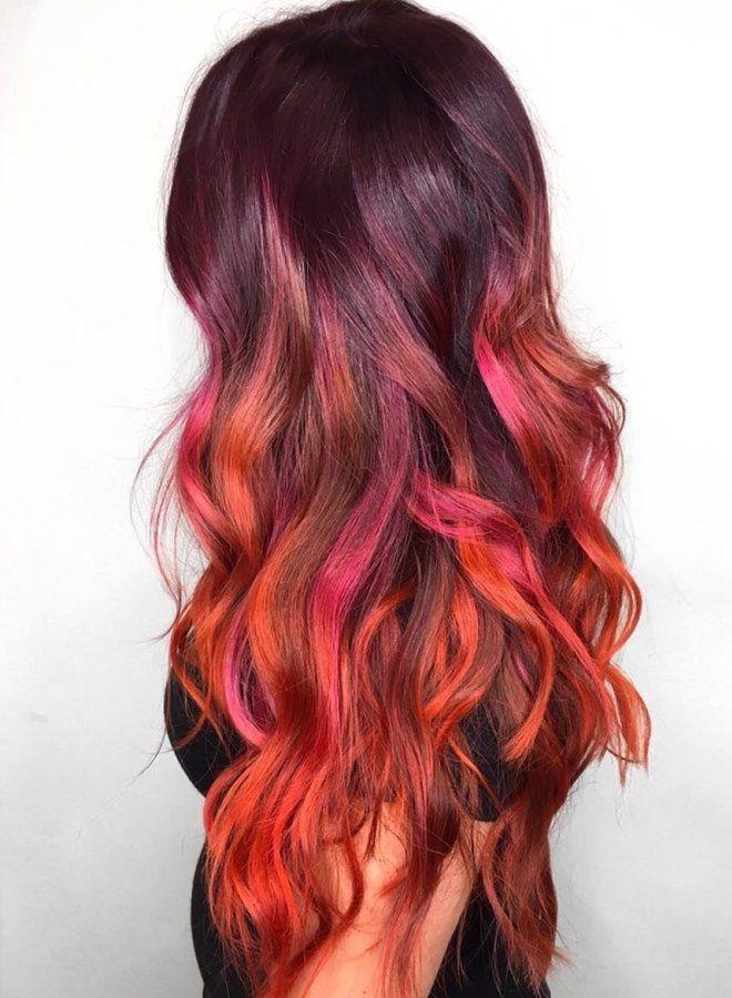 Омбре на длинные волосы четыре