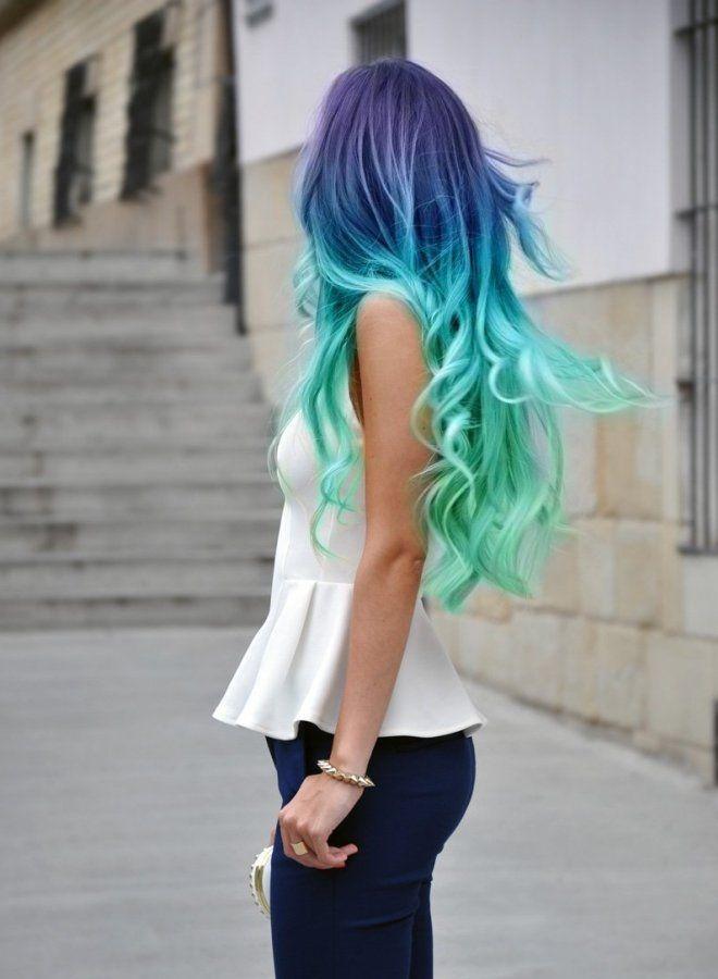 Омбре на длинные волосы шесть