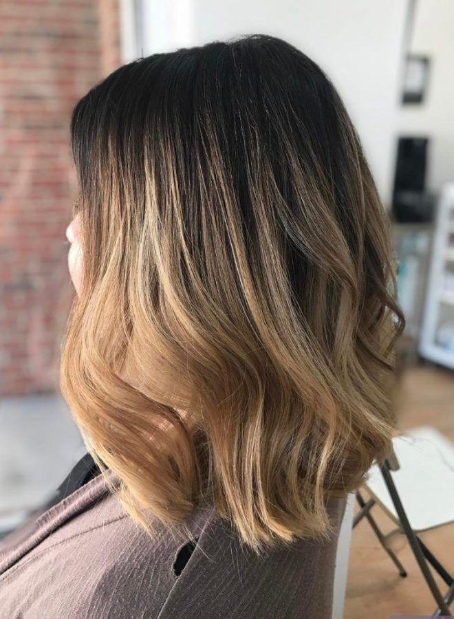 Омбре на волосы средней длины два