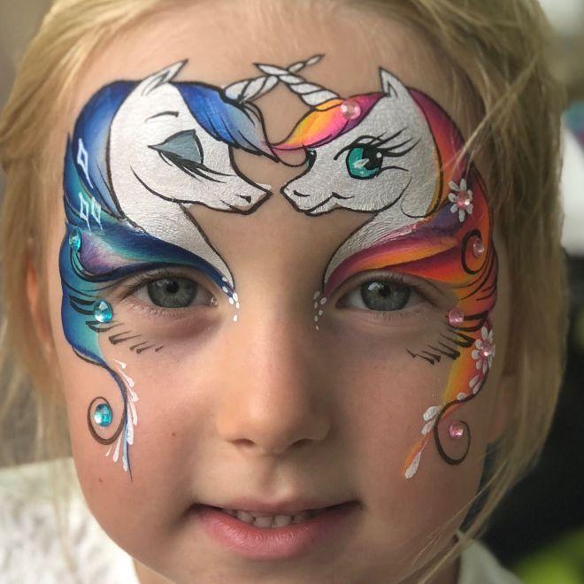 Красивый аквагрим для девочек четыре