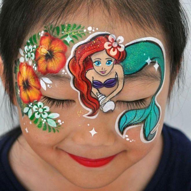 Красивый аквагрим для девочек шесть