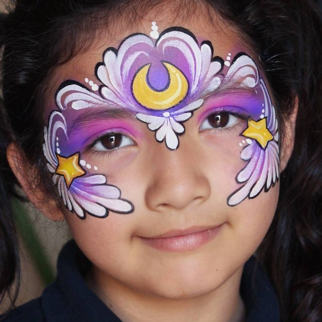 Красивый аквагрим для девочек девять
