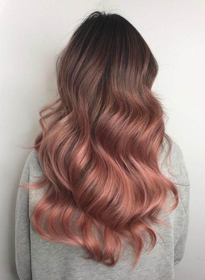 Волосы цвета молочного шоколада с розовым оттенком раз